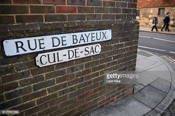 A road with a traditional French name is seen near Battle Abbey and the widelyaccepted location of the Battle of Hastings on October 4 2016 in Battle...