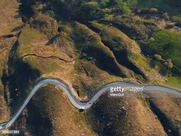 Road with curves from above