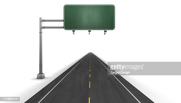 Road with yellow dashed line on a white background with sign