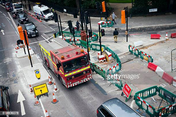 Road works and fire engine, London