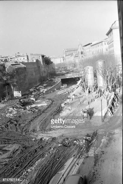 Road works in 'Corso Italia' for the preparation of Olympic games in the following year Rome 1959