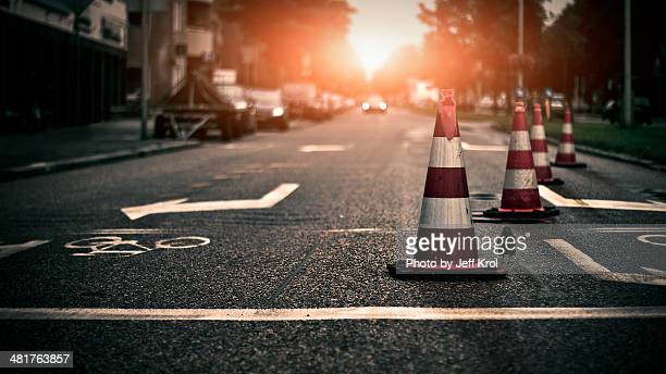 roadblock, you have to turn right - traffic cone stock pictures, royalty-free photos & images