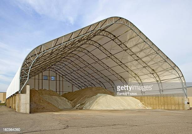 road/highway salt storage structure - road salt stock pictures, royalty-free photos & images