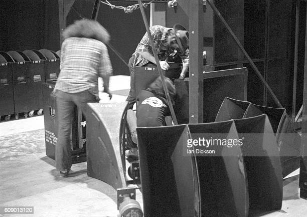 Roadies preparing at Earls Court for a run of Led Zeppelin concerts London May 1975