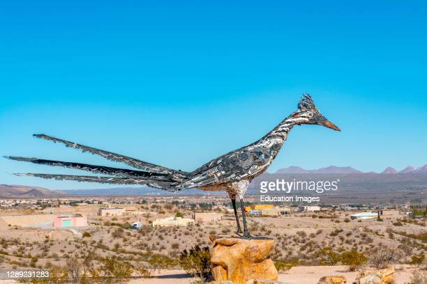 Roadrunner bird sculpture made from salvaged items from the city landfill in Las Cruces, New Mexico.