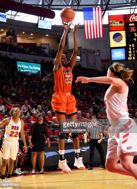 Roadrunners forward Tija Hawkins takes a jump shot during the fourth period during the women's college basketball game between the UTSA Roadrunners...