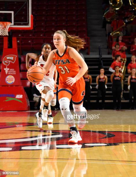 Roadrunners guard Carlie Heineman pushes the ball on a fast break during the fourth period during the women's college basketball game between the...