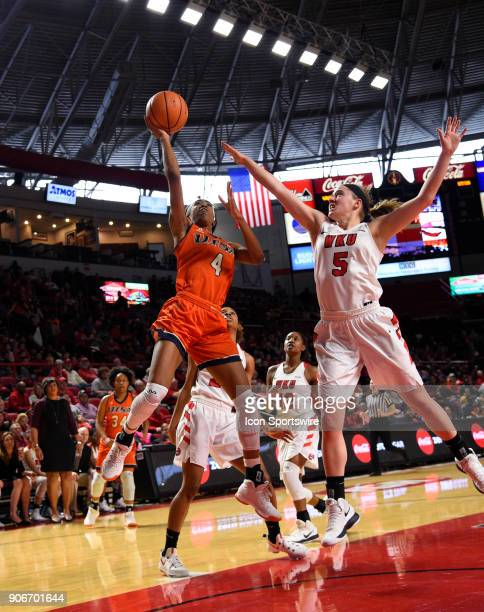 Roadrunners guard Crystal Chidomere shoots over Western Kentucky Lady Toppers guard Whitney Creech during the second period during the women's...