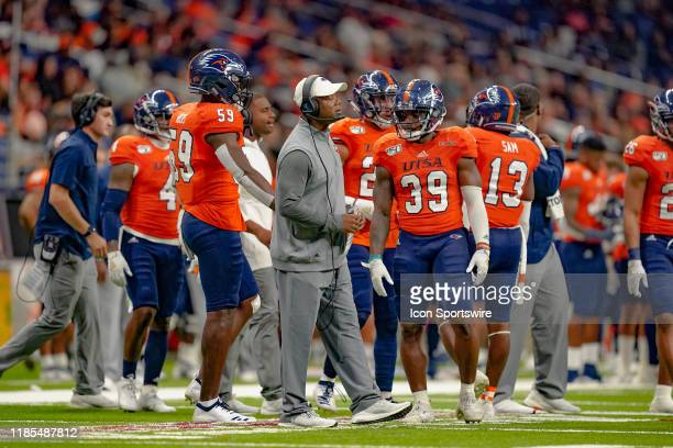 Roadrunners head coach Frank Wilson looks on during the game between the Florida Atlantic Owls and the UTSA Roadrunners on November 23 2019 at the...
