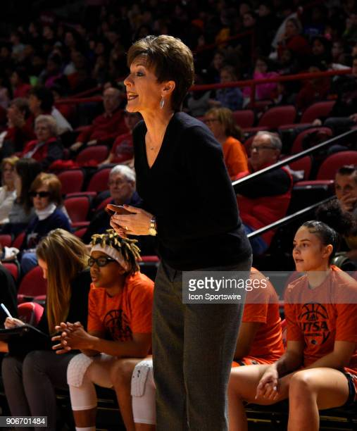 Roadrunners head coach Kristen Holt cheers her team on during the first period during the women's college basketball game between the UTSA...