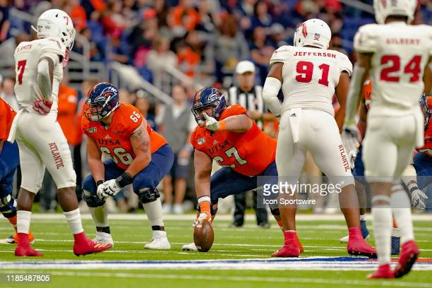 Roadrunners offensive lineman Ahofitu Maka gets ready for a play during the game between the Florida Atlantic Owls and the UTSA Roadrunners on...