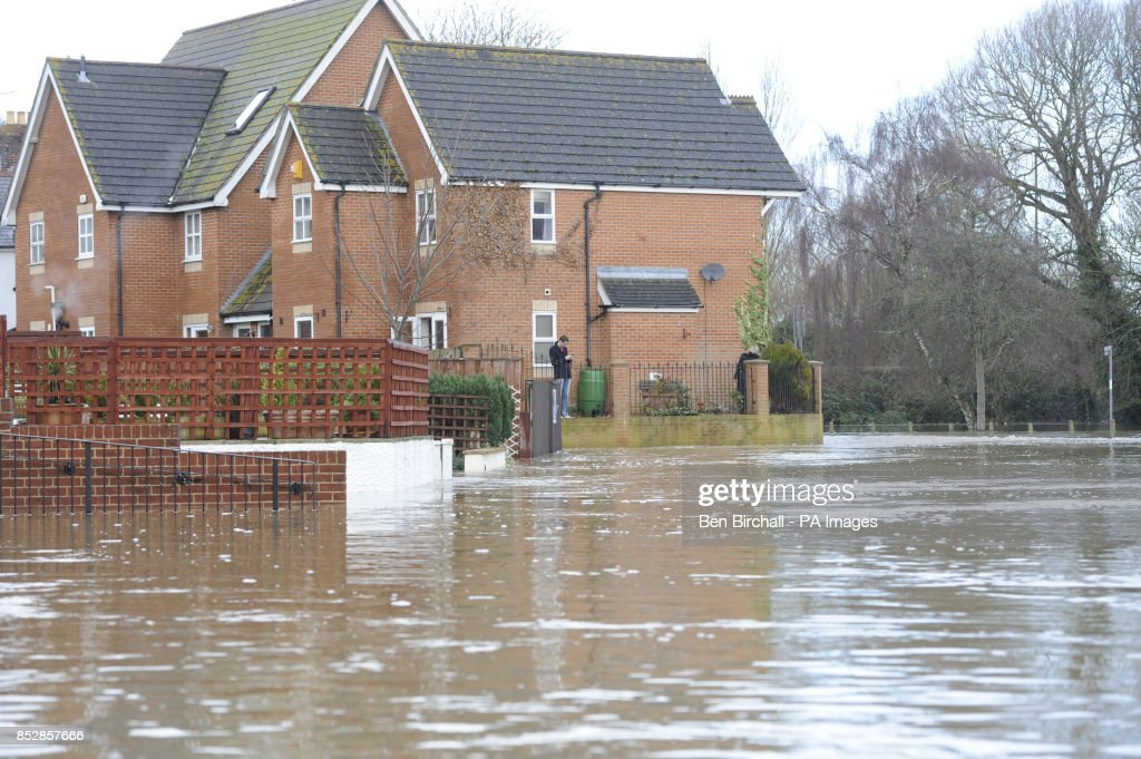 Roads Are Submerged In The Overflowing River Stour At Ilford Bridge Home Park Near Bournemouth