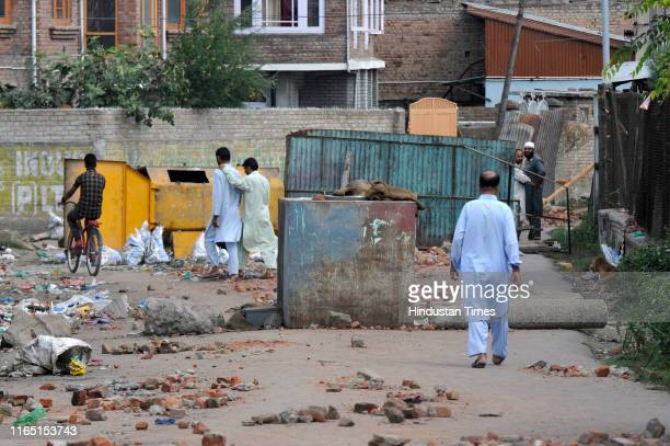 Roads blocked by residents to prevent security personnel from entering their neighborhood at Anchar Soura on August 31 2019 in Srinagar India