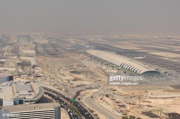 roads buildings runways and taxiways of Dubai International airport