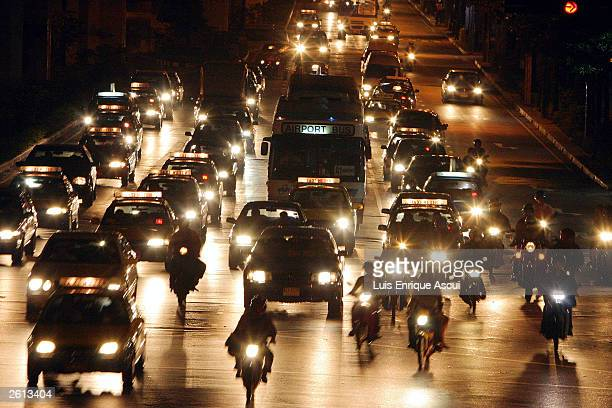 Roads surrounding the Grand Hyatt Hotel before it was closed down for traffic October 18 2003 in Bangkok Thailand World leaders are arriving in...