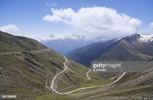 Roads Winding Through a Mountain Range. Sichuan Province, China