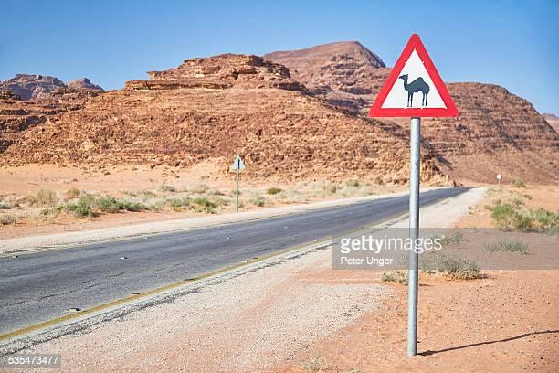 Roadside beware of camel signs in Wadi Rum