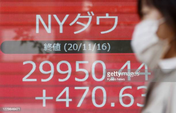 Roadside financial data screen photographed in Tokyo on Nov. 17 shows the Dow Jones Industrial Average ending at an all-time high of 29,950.44 on...
