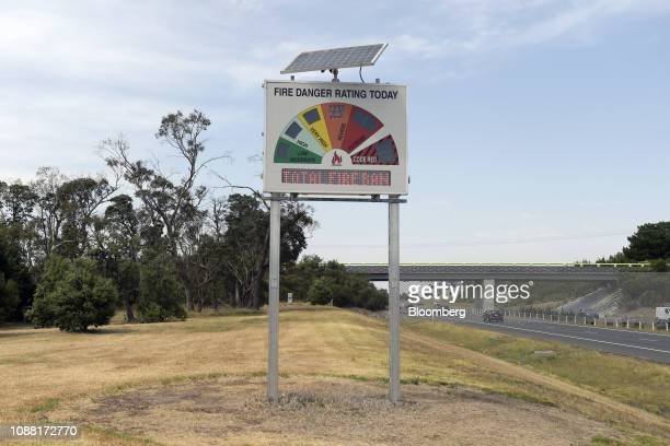 A roadside firedanger sign signals severe and warns of a total fire ban in Melbourne Australia on Friday Jan 25 2019 The worlds driest inhabited...
