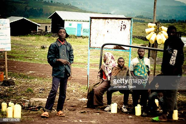 Roadside in North Kivu province, Democratic Republic of Congo. It was common to see people selling fuel and electrical charges roadside.