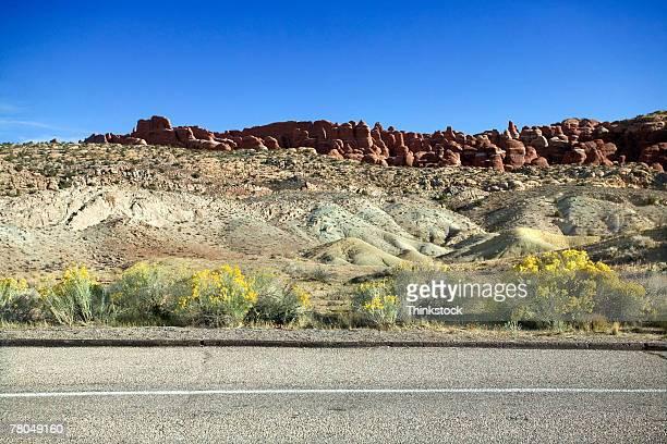 Roadside landscape in Arches National Park