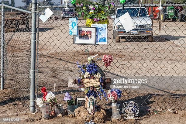 Roadside memorial along route 180 outside of Fresno San Joaquin Valley California