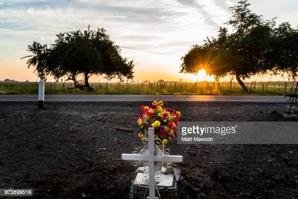 A roadside memorial cross in Sinaloa State Mexico