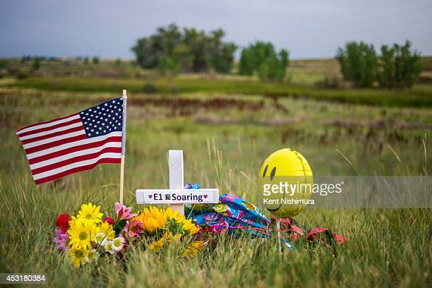 A roadside memorial honoring the young eaglet that died is seen along E120th Avenue near E470 on Sunday July 27 2014 in Commerce City Colorado The...