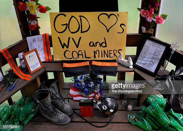 A roadside memorial that honors 29 miners who died at the nearby Upper Big Branch mine still stands 6 months after the accident