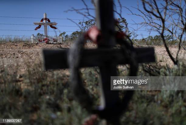 Roadside memorials are seen near the border of the United States and Mexico on March 31 2019 in Columbus New Mexico US President Donald Trump has...
