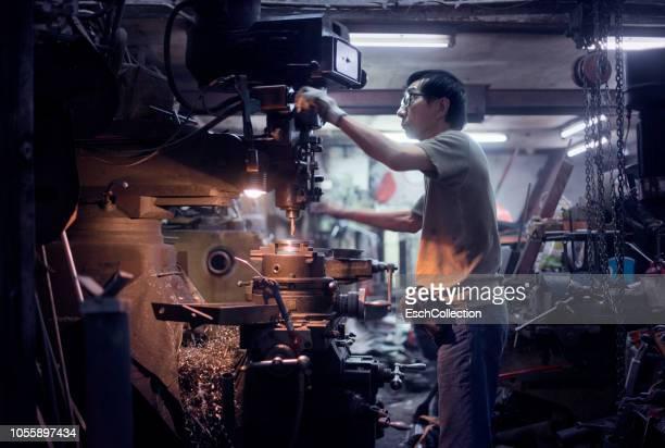 Roadside metal workshop at Mong Kok, Hong Kong