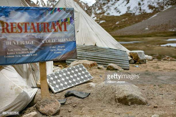A roadside restaurant powered by solar energy is seen on June 13 2017 in Ladakh India The cold desert of Ladakh has been known as the roof of the...