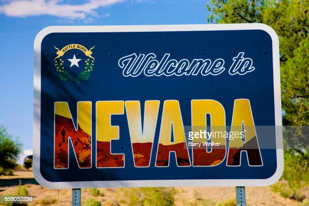 Roadside sign welcoming visitors to Nevada