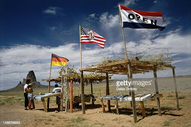 a roadside stall selling traditional navajo jewellery near the arizona/utah border. - sells arizona stock pictures, royalty-free photos & images