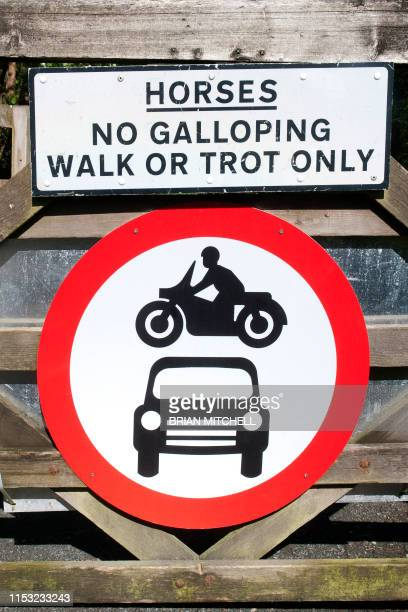 roadside traffic warning sighn. depicting 'no vehicular traffic allowed' - image stock pictures, royalty-free photos & images