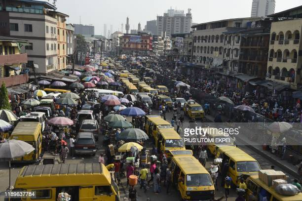 Roadside vendors take over Idumota road to sell their wares ahead of Chritsmas festival in Lagos on December 16 2019 As Christmas festival and...