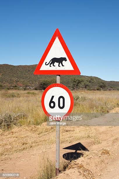 Roadsign, caution cheetah sign, Namibia