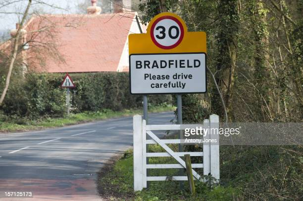 Roadsign Outside Bradfield College Where Kate Middleton Swims And Plays Sport Berkshire United Kingdom