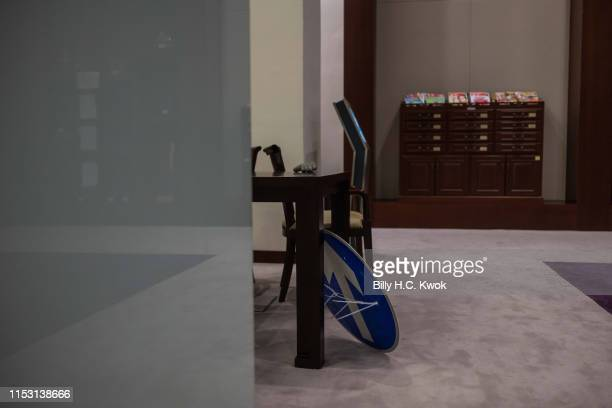 A roadsign shield is seen on the floor after protestors break into the Legislative Council Complex on July 02 2019 in Hong Kong China Hundreds of...