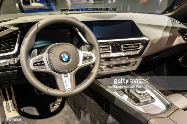 Roadster compact convertible sports car on display at Brussels Expo on January 9, 2020 in Brussels, Belgium. The BMW Z4 is fitted with a soft-top...