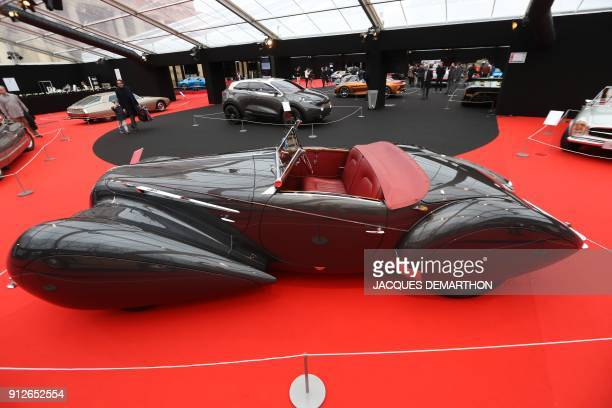 Roadster Delahaye 135 M FigoniFalaschi is displayed at The International Automobile Festival in Paris on January 31 2018 / AFP PHOTO / JACQUES...