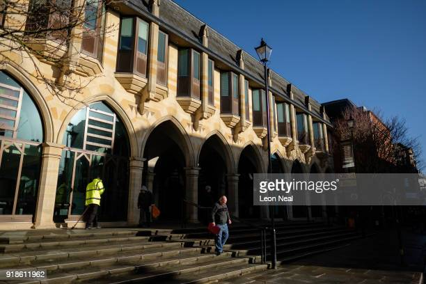 A roadsweeper cleans the steps outside the Northampton Borough Council building in the town centre on February 15 2018 in Northampton United Kingdom...