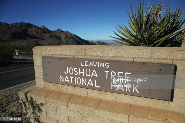 Roadway sign for Joshua Tree National Park stands on January 4, 2019 in Joshua Tree National Park, California. Campgrounds and some roads have been...