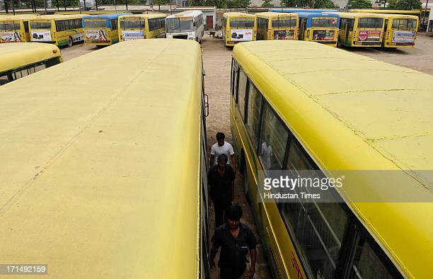 Roadways buses standing at the bus stand during strike called by contractual employees of Uttar Pradesh State Road Transport Corporation on June 25,...
