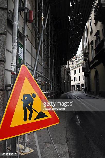 Roadwork ahead in Milan street
