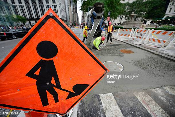 roadwork on the road - cone shape stock photos and pictures