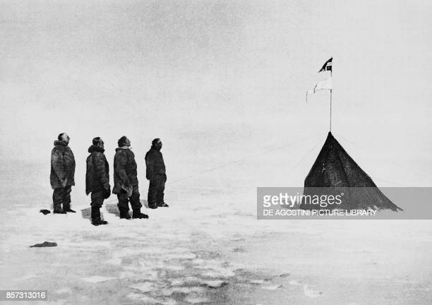 Roald Amundsen Helmer Hanssen Sverre Hassel and Oscar Wisting in front of the tent erected at the South Pole December 16 photograph by Olav Bjaaland