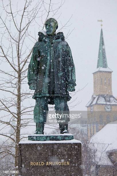 Roald Amundsen Statue & Cathedral, Tromso, Norway