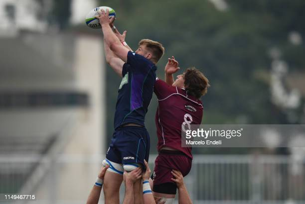 Roan Frostwick of Scotland U20 wins a lineout during a Pool C match between Georgia U20 and Scotland U20 as part of World Rugby U20 Championship 2019...