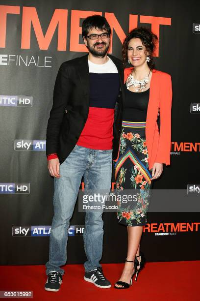 Roan Johnson and Enrica Guidi walk a red carpet for 'In Treatment' at Officine Farneto on March 15 2017 in Rome Italy